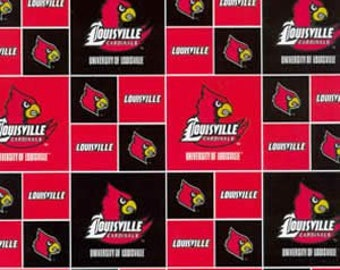 NCAA LOUISVILLE CARDINALS Allover Print #1 100/% cotton fabric material You choose length licensed for Crafts and Home Decor