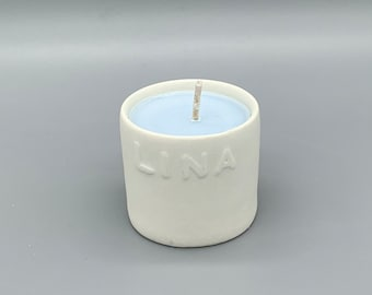 Small scented candle me name