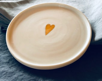 Porcelain Plate White with Golden Heart / Ceramic / Pottery / Pottery / Plate / Plate / Wedding / Gift / Gift