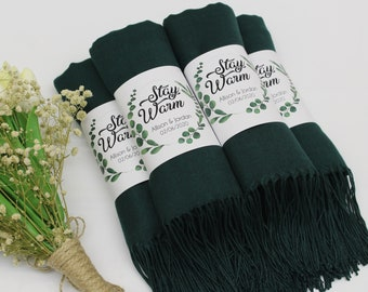 Forest Green Pashmina Shawl, Bridesmaid Shawl, Personalized Wedding Favors for Guests, Pashminas in Bulk, Bridal Shower Favor, Wedding Shawl