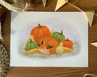 Cozy Little Fox - A5  Glicée Fine Art Print