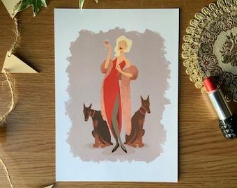 Lady in Red - A5 Glicée Fine Art Print