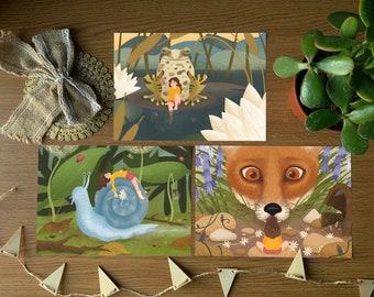 Tiny Adventures 3 Print Set - A5  Glicée Fine Art Prints