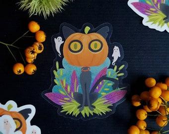 Halloween Pumpkin Cat Sticker