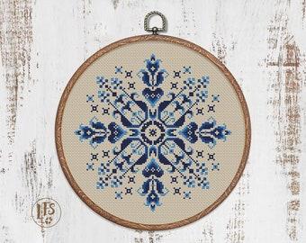 Sampler Flowers Cross Stitch Pattern - Pillow Round Tricolor PDF - Floral Modern Ornament Cross Stitch Chart - Instant Download PDF