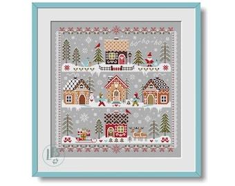 Merry Christmas Gingerbread Village Cross Stitch PDF - Merry Christmas Pattern - Winter Sampler PDF - Cross Stitch Pattern PDF