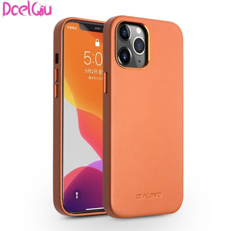 Genuine Leather Slim Leather iPhone Cases 1212 Mini Pure Fashion Handmade Anti-Shock For iPhone 12 Pro Max