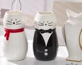 Cat Creative Nordic Ceramic Hydroponic Flower Simple Vase, Dried Flower Flower Arrangement Vase, Home Decoration Floral Ornaments