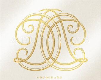 Vintage Monogram Digital VH HV Double Inverted Duogram Wedding Monogram