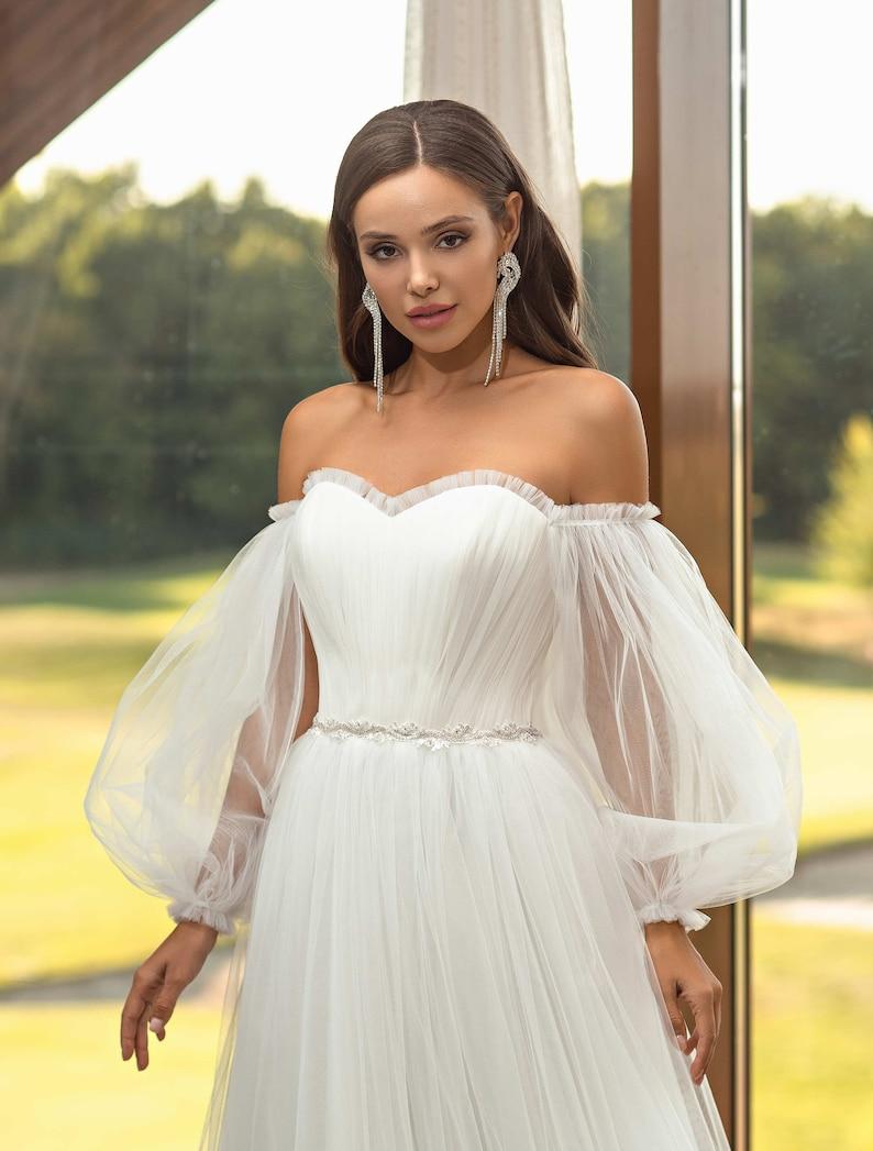 Ivori Dress long evening dress Tulle wedding dress Tulle evening dress Tulle dress Bridesmaid Evening Gown Dress Lantern sleeve dress