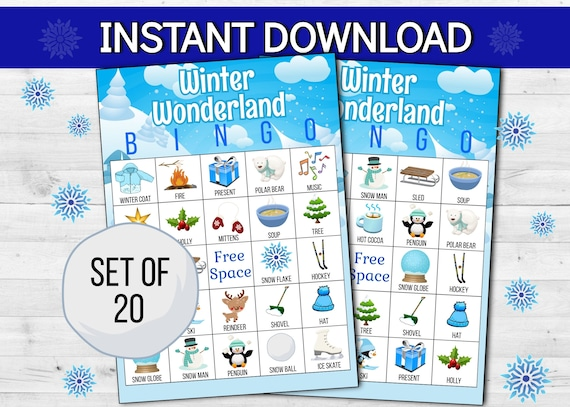 Winter Wonderland Bingo Printable Digital Game  Christmas
