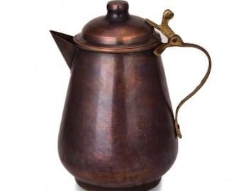 ALFIQ 2021 Handmade Pure Copper Coffee Milk Pot, Suitable for Hot Beverages / Food-Safe Copper Decanter, Handmade Hammer Copper Jug, 1000ml