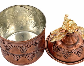 Golden Ornaments Copper Storage Containers/ Handmade Mid Century Canisters/ 100% Pure Copper Flour Coffee Tea Boxes/ Pure Copper Utensils
