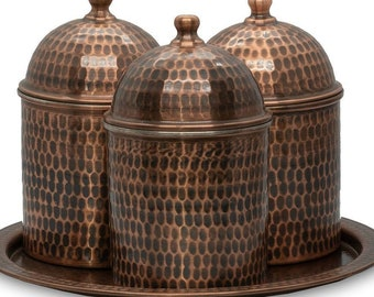 Big Size Set of 3 Copper Storage Container / Handmade Mid Century Canisters / 100% Pure Copper Flour Coffee Tea Boxes / Pure Copper Utensils