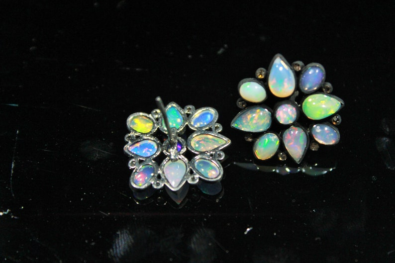 Rose Cut Diamond Earrings Jewelry Sterling Silver Black Rhodium Handmade Stud Earrings Jewelry Natural Ethiopia Opal Stud Earrings Jewelry