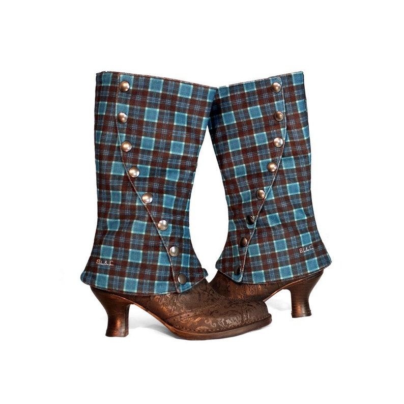 Spats, Gaiters, Puttees – Vintage Shoes Covers Guêtres velours Scottish Bleu velours imprimé tartan bleu $117.97 AT vintagedancer.com