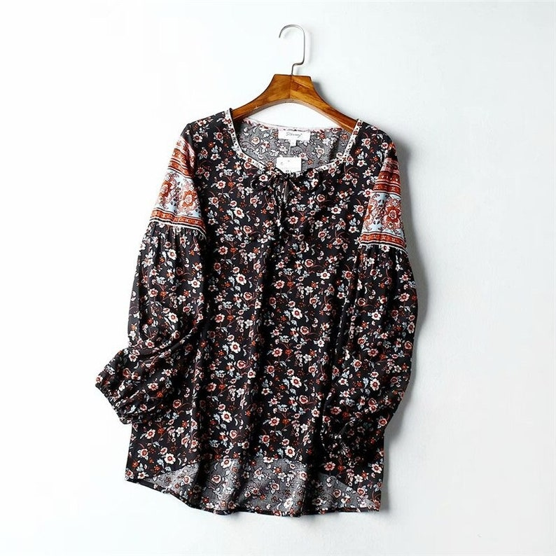 Boho women Tops Vintage Red Floral Print tassel Loose Blouses  ladies lace-up o-Neck Long Sleeve Beach Shirts Blusas Mujer  MakrovStore