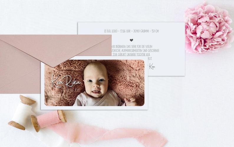 Dankeskarten Ankündigung Geburt Taufe Baby Mädchen image 0