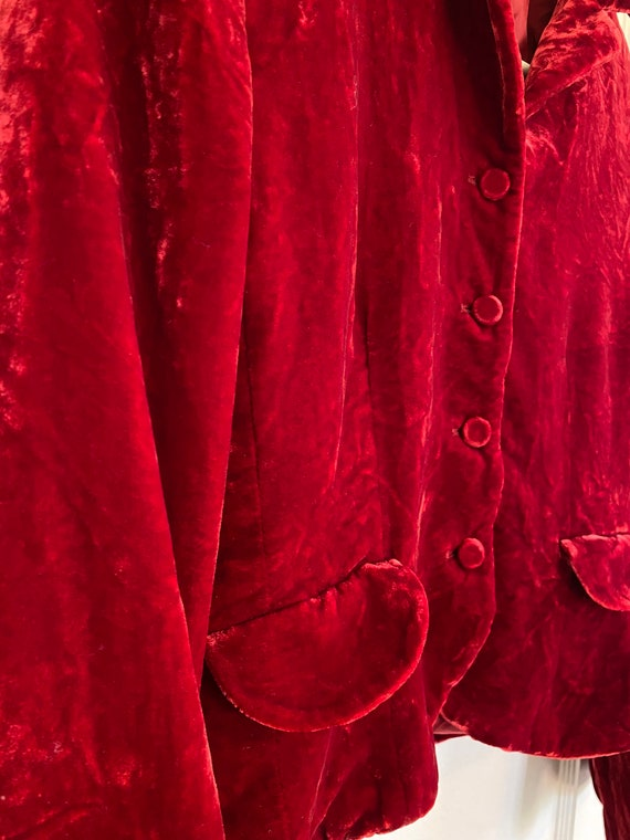 Vintage Deep RUBY red VELVET fall button up mod J… - image 10