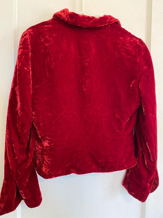 Vintage Deep RUBY red VELVET fall button up mod J… - image 9