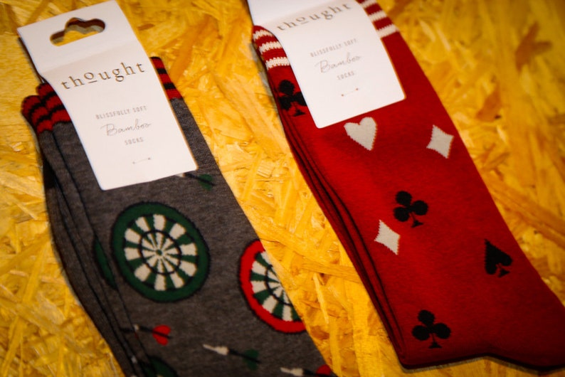 Mens Darts /& Cards Patterned Eco Bamboo Cotton Socks Sustainable Antibacterial