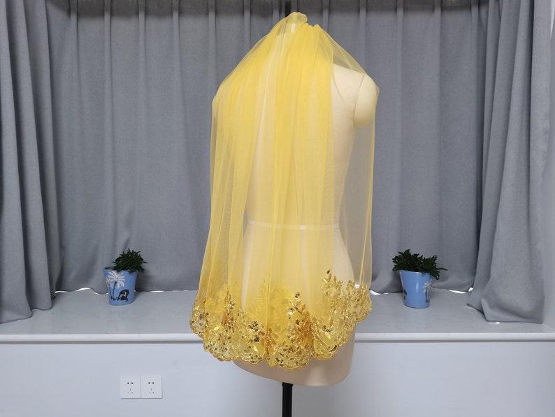Regal Veil Single Layer Golden Wedding Veil Lace Sequin Wedding Veil One Layer Golden Tulle Veil Golden Lace Edge Wedding Veil