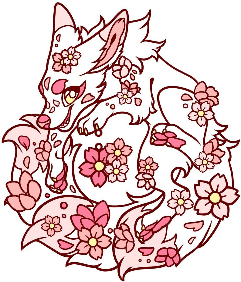 Sakura Fox Fursona Pins #863