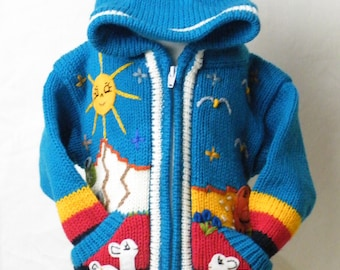 Arpillera for childrenPeruvian sweater Wool Jacket for kids Cardigan with embroidered details Hooded Jacket Girl Boy sweater