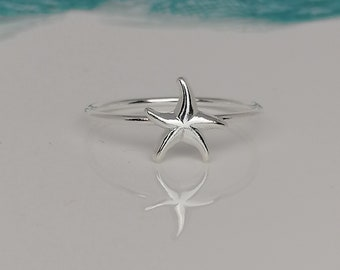 Summer Beach Vacation style boho minimalist hippie dainty Silver Starfish Adjustable Ring Stackable Animal Marine Life Ring Gift for her