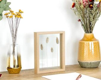 Lagurus im Bilderrahmen 22x17cm Natur oder Schwarz   Pressed Bunny Tail Frame   Herbarium   Gepresste Blumen Samtgras