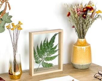 Farn im Bilderrahmen Natur oder Schwarz   Pressed fern Frame   Herbarium   Gepresste Blumen Farn   Botanic Floating Frame