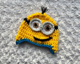 Minion Hat with Earflaps in Soft Acrylic Yarn,crochet hat,toddler hat,winter hat,baby shower gift,birthday gift,character hat Evil
