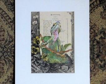 Lizard Painting on antique book page, green anole lizard, wildlife art