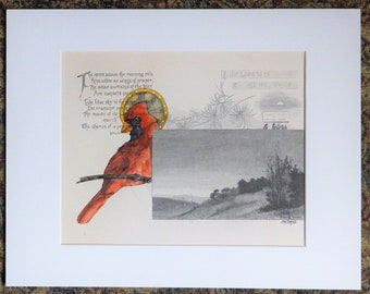 Cardinal Bird Angel, original painting of a cardinal with a halo, painted book page, gift for bird lover or book collector