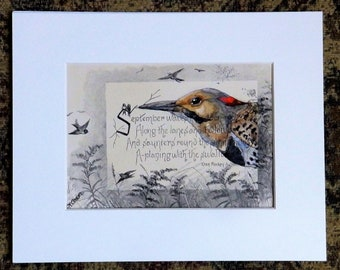 Flicker Painting on antique book page from the 1800's, September poem, original painting, woodpecker art, gift for birder or book lover