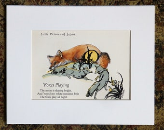 Fox Painting on antique book page, red fox, original painting, wildlife painting, gift for book lover, fox poem, painted book page
