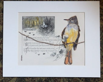 Flycatcher Painting on antique book page, Great Crested Flycatcher, wildlife art, backyard birds, song and garden birds