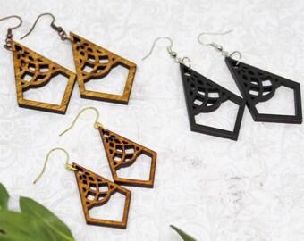 10 pcs  Diamond Wood Charm  Earring Supplies  Wood Cabochons  Ear Stud LCW81