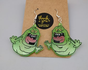Ghostbusters Slimer Resin Dangle Earrings | 80's Baby | Classic Movie Fans | Colored Resin Art | More Designs In My Shop!!