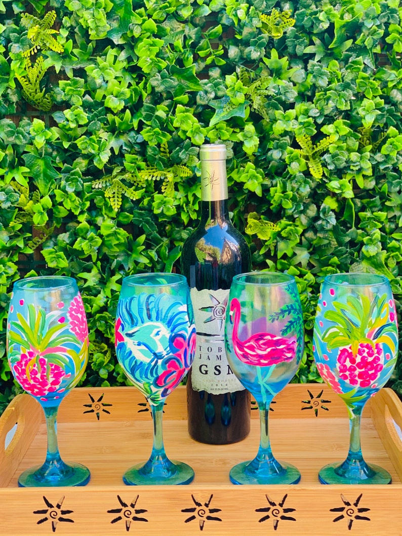 Hand Painted lion and flowers set of 2 Palm Beach Style Wine Glasses