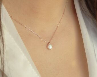 White Opal Necklace   Minimal & Elegant 14k Gold Opal Gemstone Pendant Necklace for Daily Use, Anniversary Valentine Gift   Gift for Her