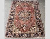 Antique Heriz Rug, 100 Wool Carpet (340cmx253cm) Traditional Persian Handmade Oriental Carpet, Decorative Organic Clean Rug. Item 13