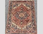 Antique Heriz Rug, 100 Wool Carpet (265cmx205cm) Traditional Persian Handmade Oriental Carpet, Decorative Organic Clean Rug. Item 57