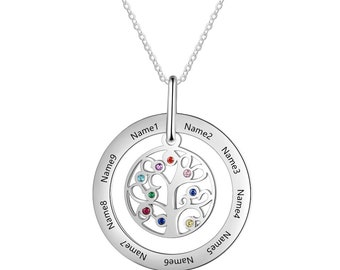 Ye-Z Personalised Name Necklace Tree of Life Pendant Filigree Heart of Love Pendant 925 Sterling Silver for Christmas Jewellery Gift.