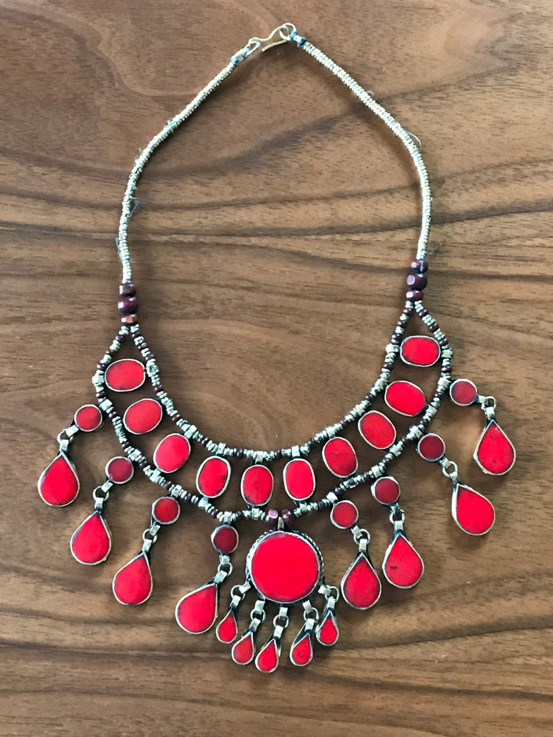 Afghan 3 Layer Statement Stone Necklace Boho Jewellery Ethnic Tribal