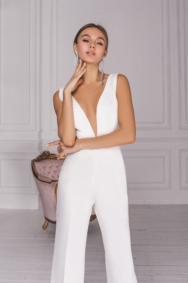 Wedding jumpsuit White simple v neck and sexy backless White