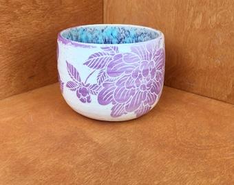 Lilac peony sgraffito vessel