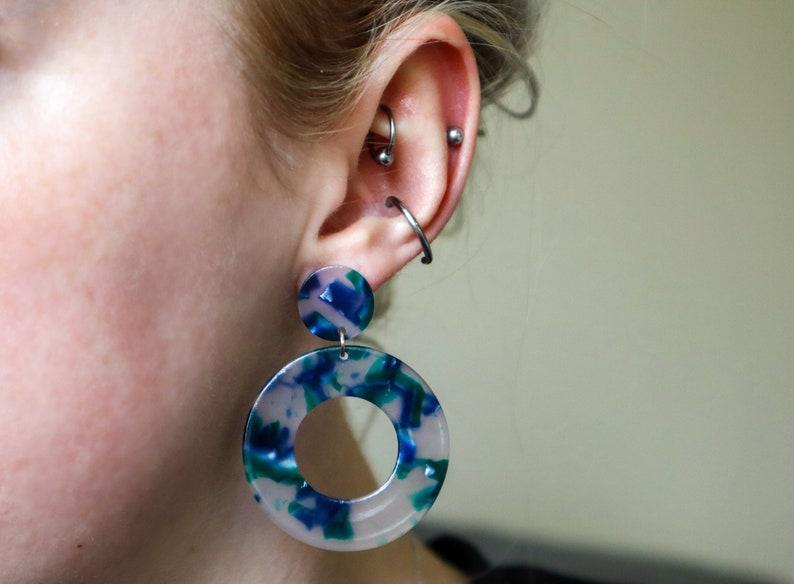 Acetate 4 Stud Options Resin Tortoise Shell Statement Handmade Acrylic Gift for Women Minimal Green Tortoise Shell Hoop Earrings