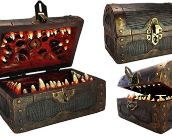 Mimic Chest Dice Storage Box | DND Lockable Vault | Dungeons Dragons Players, Master/DM, RPG | D&D Holder Case for 4 Sets Polyhedral Dice