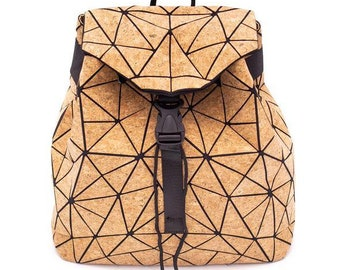 Large geometric cork backpack closure with adjustable buckle and shoulder straps